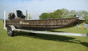 bow hunting boat with camo paint